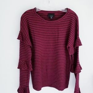 Lumiere red stripe sweater with tiered sleeve S